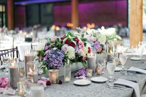 Low Centerpieces on Silver Linens