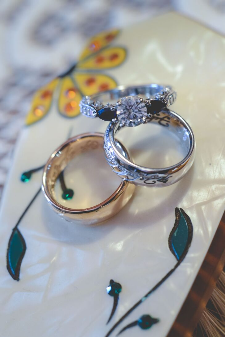 Moissanite Engagement Ring With Sapphires
