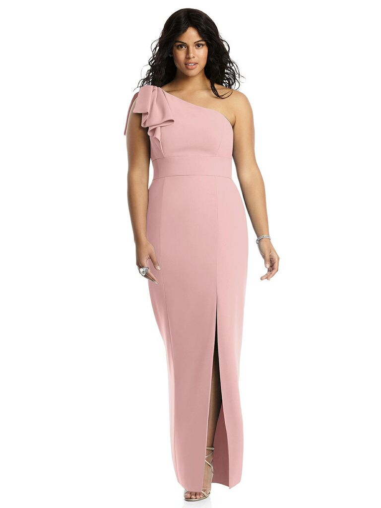Dusty rose one shoulder plus size bridesmaid dress