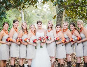 Soft Gray Bridesmaid Dresses with Orange Necklaces
