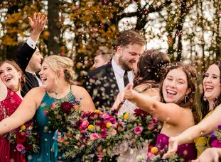 "For Amanda and Stephen's Ohio wedding at the Toledo Country Club, a rich color palette of jewel tones inspired much of the day. ""Our main inspiration"