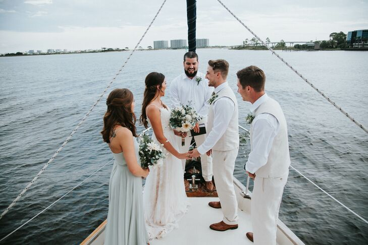 Intimate Ceremony on Boat at Orange Beach, Alabama