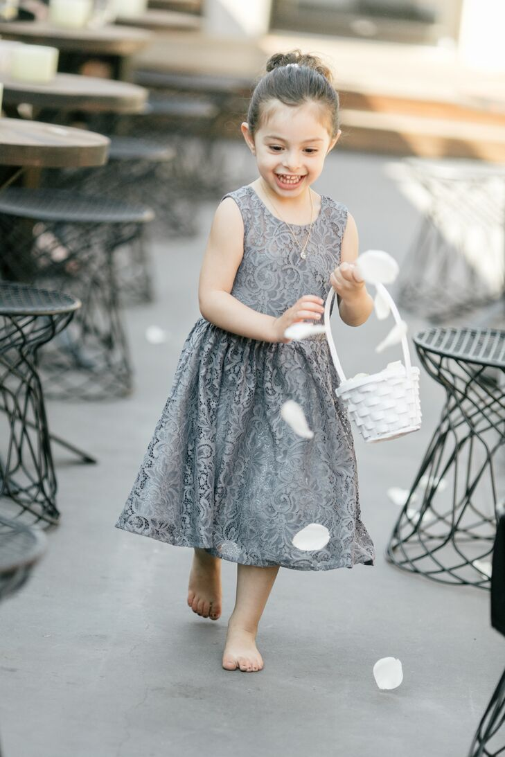 Gray Flower Girl Dress with White Flower Basket