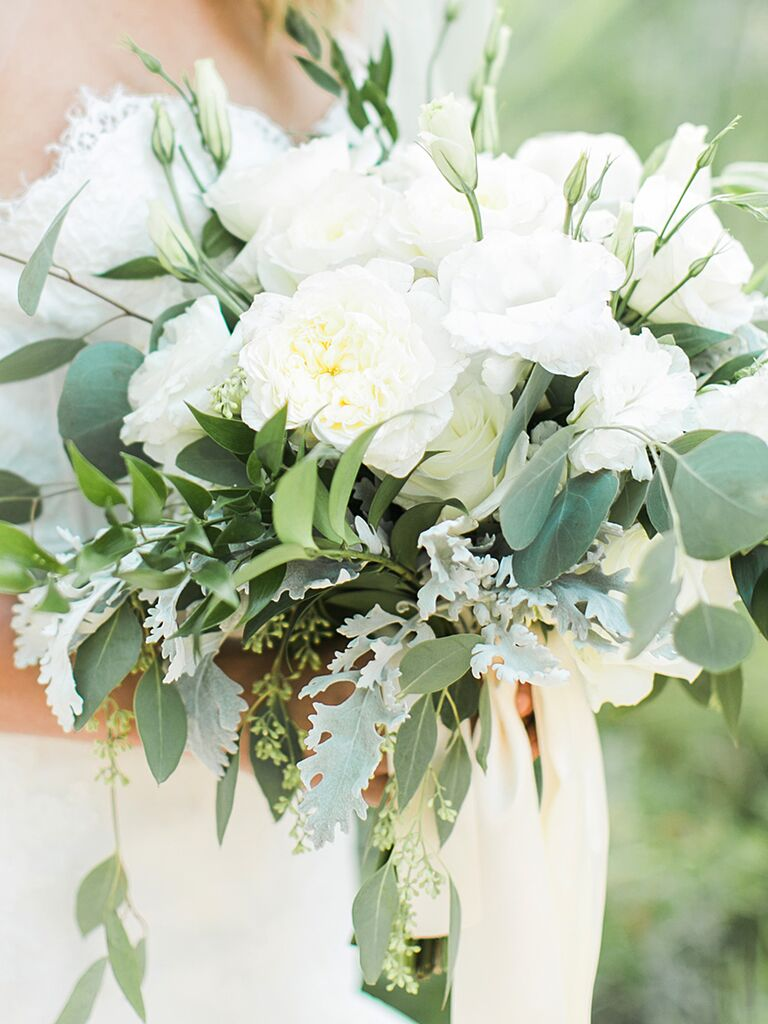 A Bridal Bouquet With Peonies And Gardenias