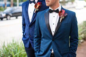 Navy Suit with Black Satin Lapel