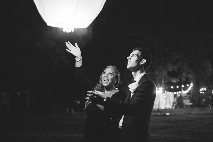 "At the end of the night, Nikki, Scott and their guests released lanterns into the night sky. ""Everyone enjoyed seeing them light up the sky,"" Nikki says."