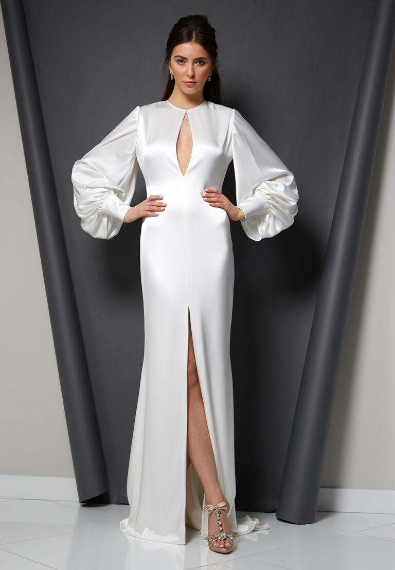 Randi Rahm Spring 2020 Bridal Collection wedding dress with long sleeves and front keyhole