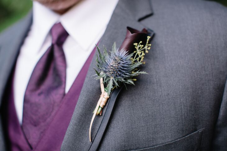 Kyle and his groomsmen sported boutonnieres of thistle, mini calla lilies and a spring of seeded eucalyptus. The subdued purple and green colors beautifully complemented their dark gray suits with plum-colored paisley vests.