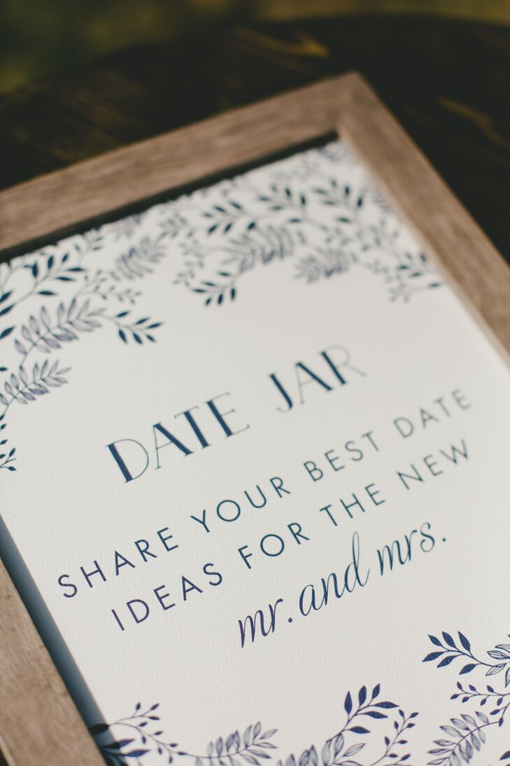 In addition to their wine bottle twist on the classic guest book, Robyn and Tony asked their guests to share their ideas for fun date night activities that the newlyweds could use when they needed a little inspiration.