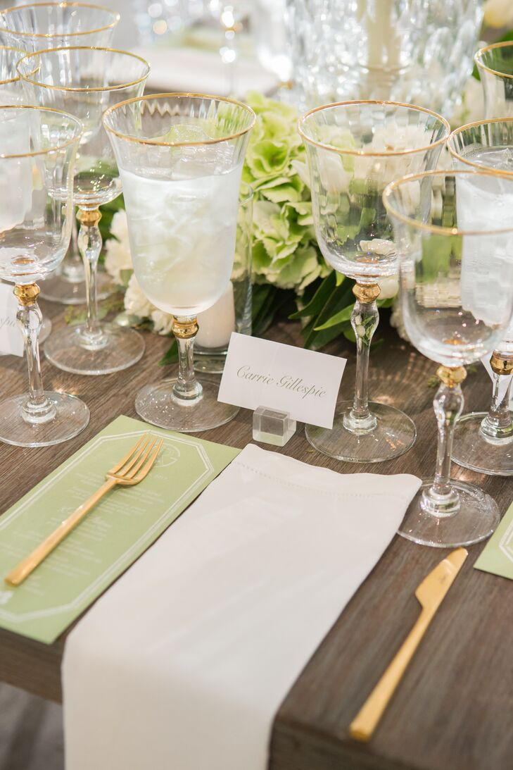 Preppy Place Setting with Green Menu and Gold Flatware