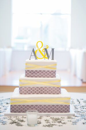 Tiered Yellow and Gray Wedding Cake
