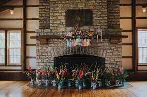 Colorful DIY Fireplace Decorations with Balloons and Streamers