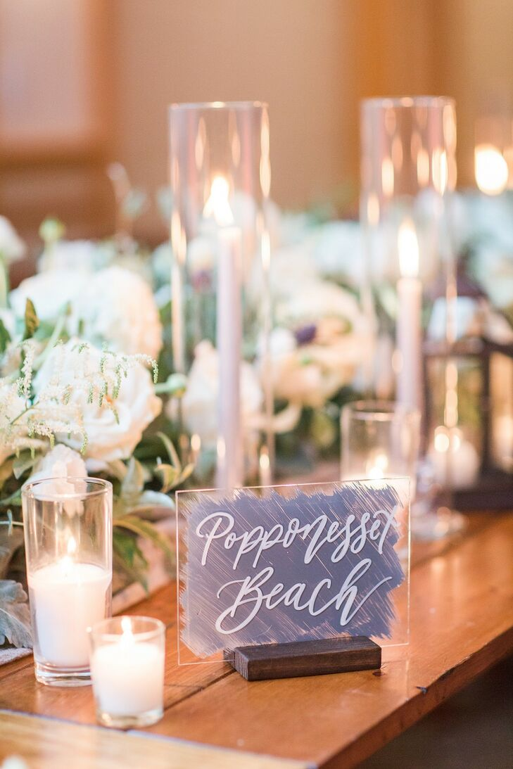 Elegant Calligraphed Table Number with White Candles