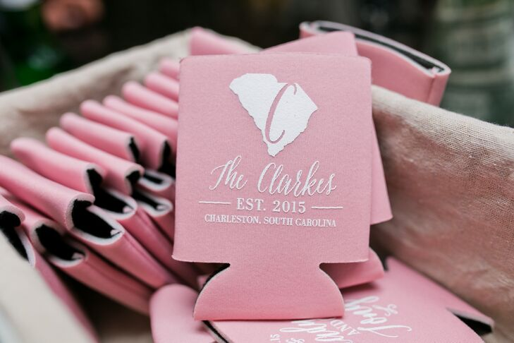 Gladys and Tony ordered blush-colored custom koozies from Etsy.com for guests to use at the reception and then take home as favors after. An outline of South Carolina along with their wedding monogram and date of marriage adorned the front.