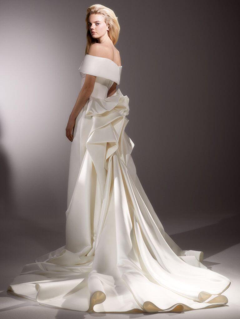 Viktor & Rolf Spring 2020 Bridal Collection off-the-shoulder wedding dress with dramatic back detailing