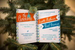 Modern Orange and Blue Invitations