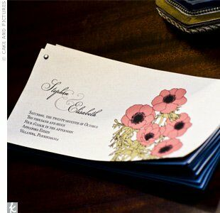 Libby made her ceremony programs from light brown paper. They were tied together with antique copper, antique nickel, or antique bronze. The cover showcased Libby's own illustration of anemones.