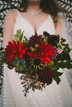 Wintry Bouquet with Dahlias, Scabiosa, Blackberries, Thistle and Viburnum
