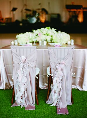 Flowing Rose Colored Chair Covers