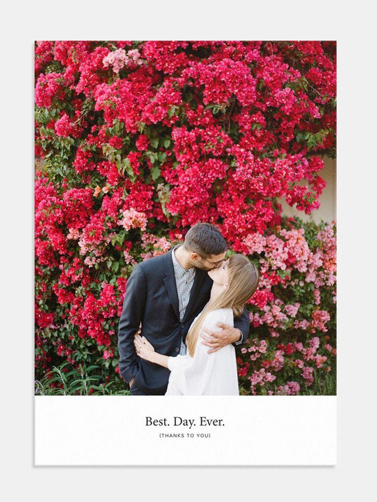 couple photo wedding thank-you card