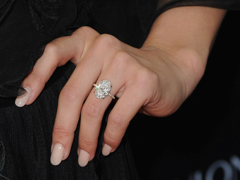 Julianne Hough's oval diamond engagement ring with pavé band