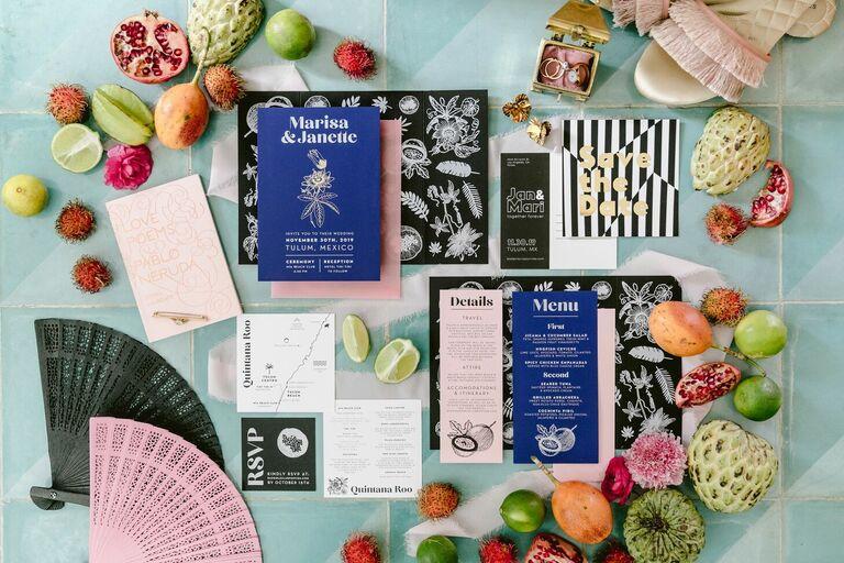 Modern indigo, white and black wedding invitation suite