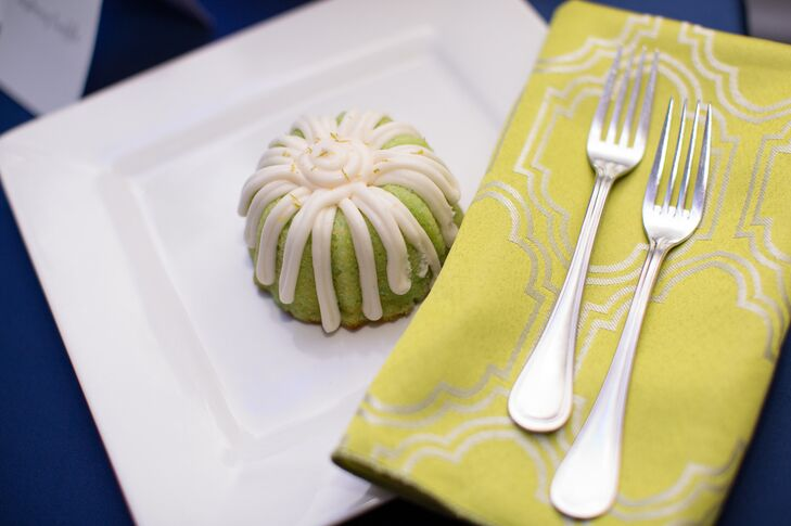 Small green tea bundt cake with icing