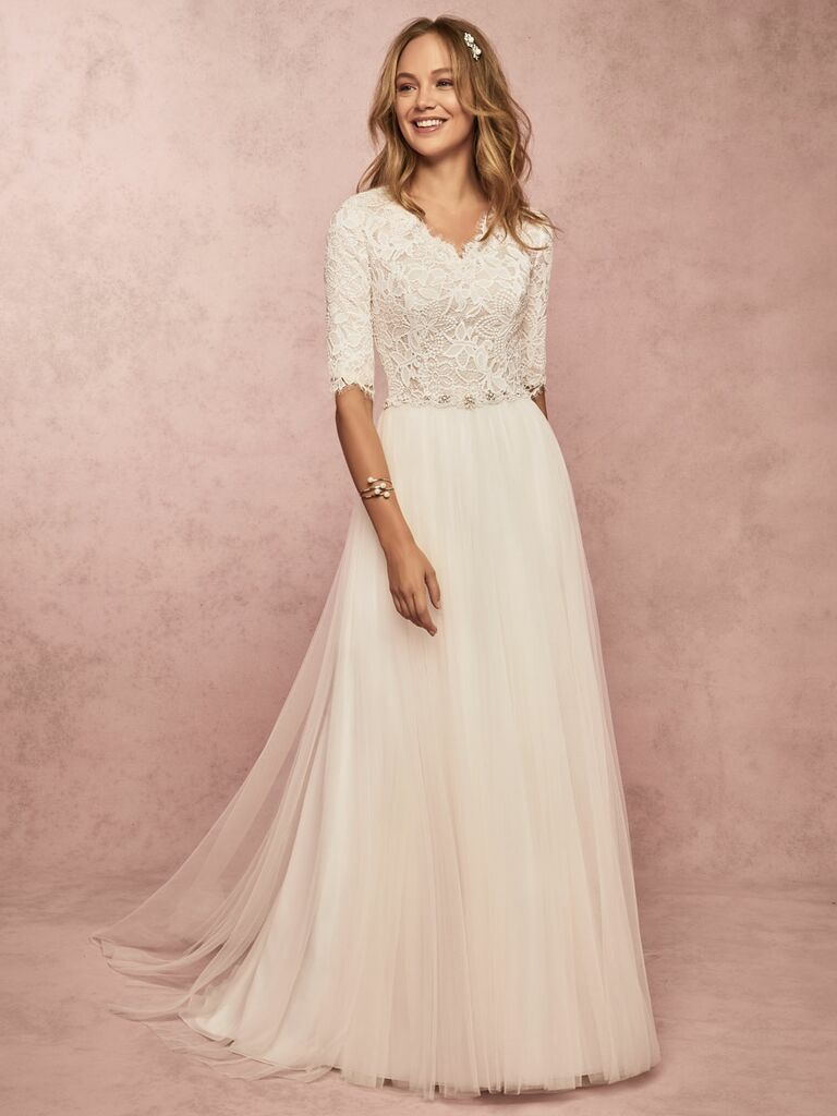 Rebecca Ingram Spring 2019 3/4 sleeve wedding dress with lace bodice and tulle skirt