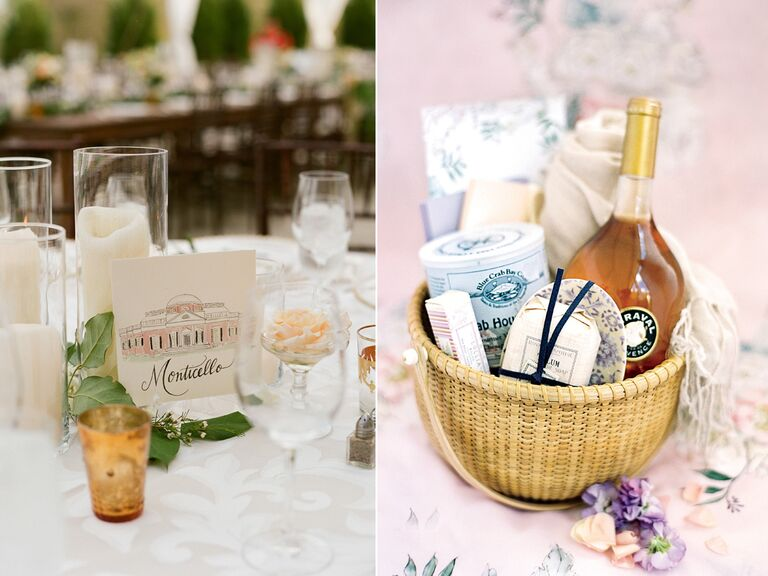 Virginia-inspired table sign and welcome bag