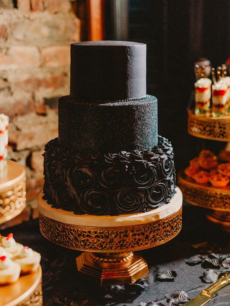 Simple black wedding cake