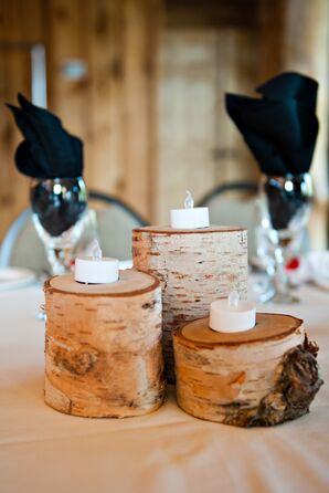 Rustic Wooden Centerpieces With Candles