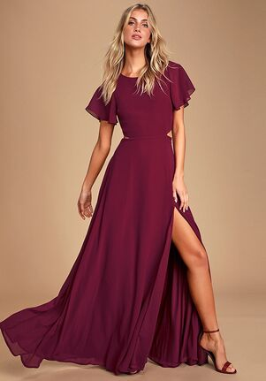 Lulus Garden Bliss Burgundy Cutout Maxi Dress Bateau Bridesmaid Dress