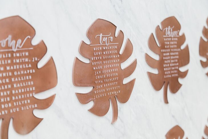 Copper Monstera Leaf Seating Chart Signs