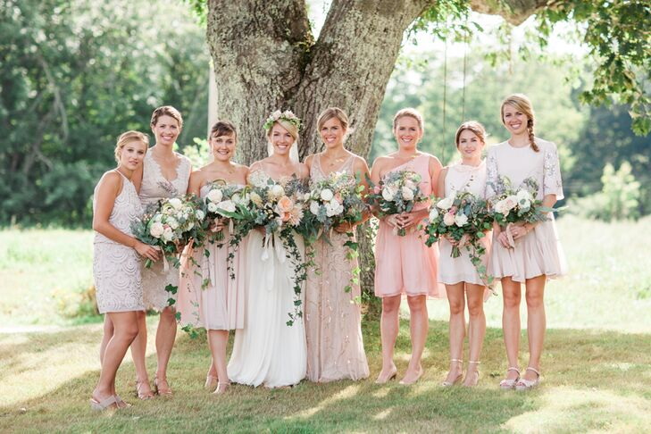 "Wanting her bridesmaid dresses and her own gown to complement the land and the farmhouse, Megan decided on an elegant, laid-back aesthetic. ""I'm all about comfort, and my style has always skirted the bohemian line,"" Megan says. ""It's elegant but always comfortable."" She opted for a simple thin-strapped gown in an A-line silhouette and had her bridesmaids choose their own dresses in soft shades of ivory or blush."
