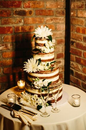 Tiered Naked Wedding Cake with White Flowers