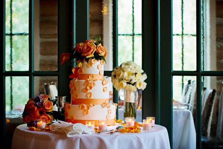 Orange and White Wedding Cake