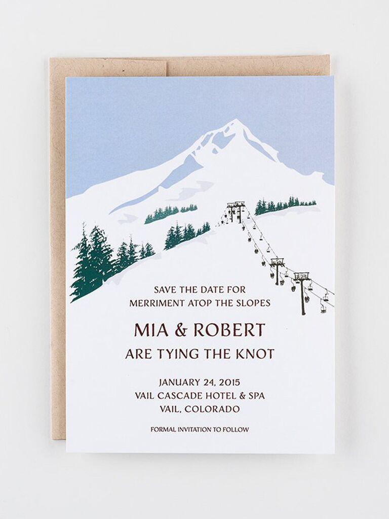 Etsy ski slope destination wedding save-the-date