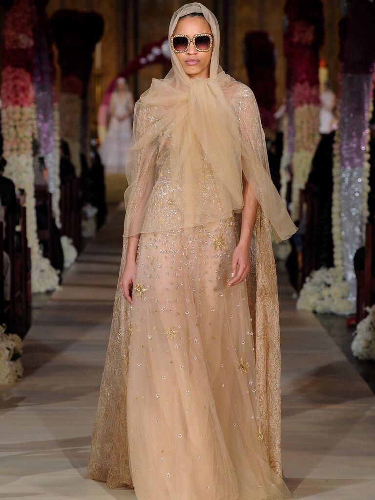 Reem Acra Spring 2020 Bridal Collection champagne beaded tulle bridal look