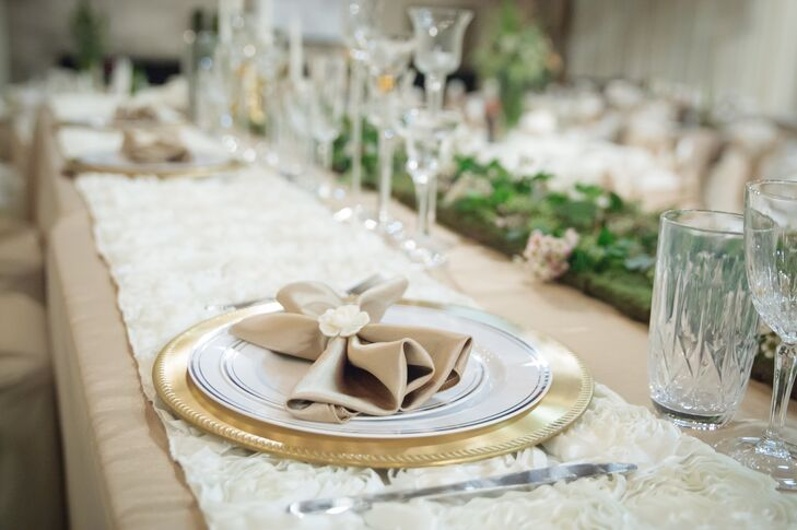 The neutral napkins were folded into lovely bow ties.