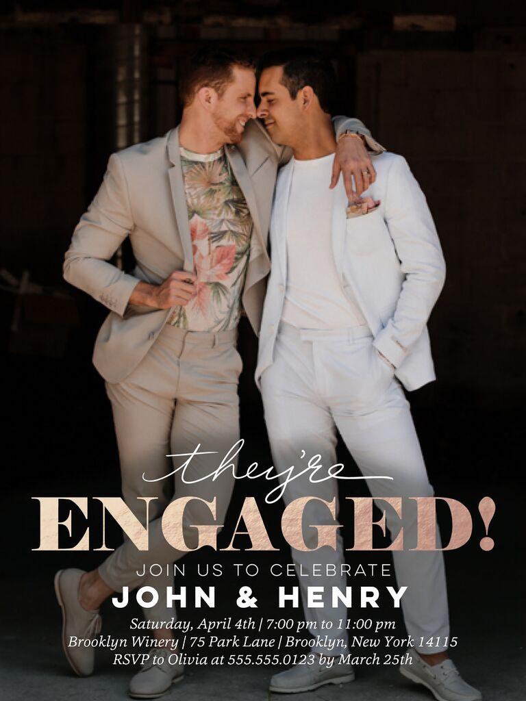 Couple's portrait engagement party invitation