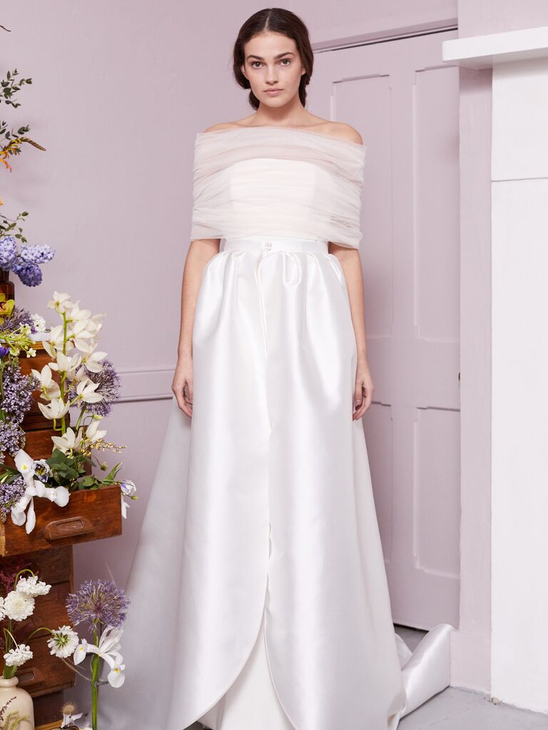 Halfpenny London 2020 Bridal Collection off-the-shoulder A-line wedding dress