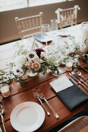 Anemone, Rose and Cascading Greenery Centerpieces