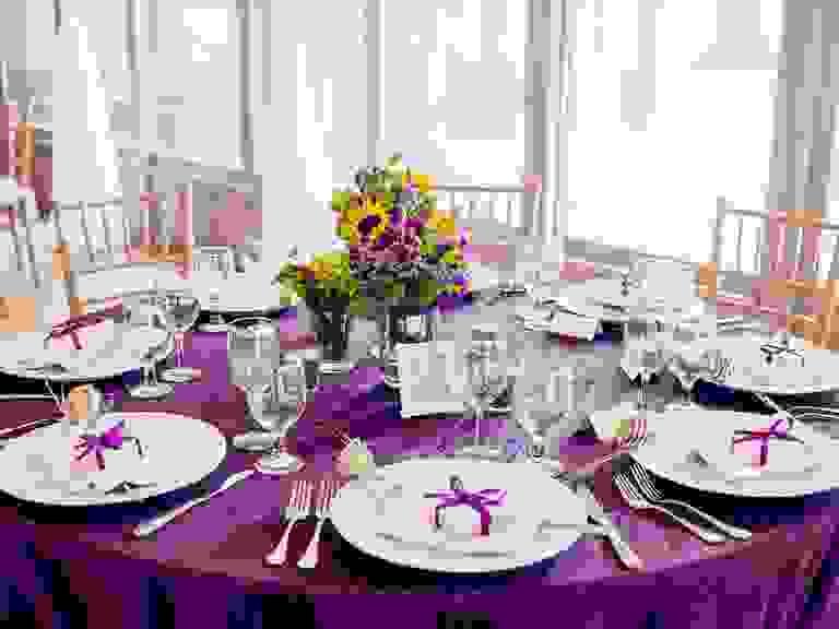 purple wedding reception table decor