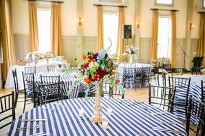 Textured Red, White and Blue Wedding Centerpieces