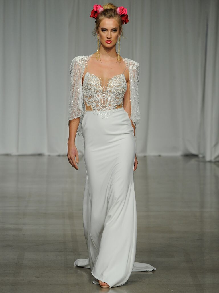Julie Vino Spring 2019 wedding dress with a sheer illusion bodice and matching cape