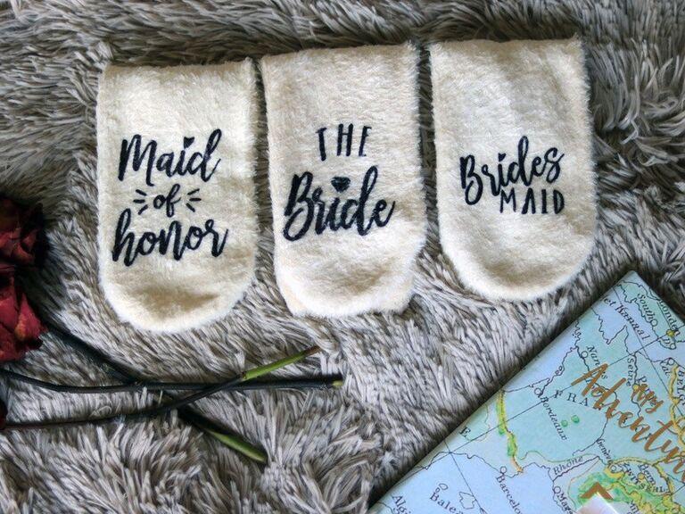 Bridal party socks gift