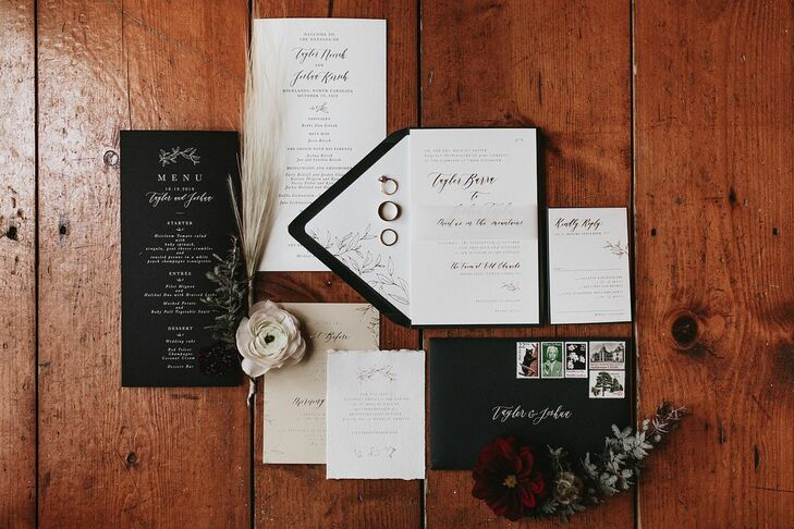 Modern, Elegant Black-and-White Invitations and Paper Goods