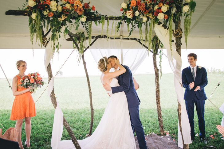 First Kiss Beneath Tree Branch Chuppah