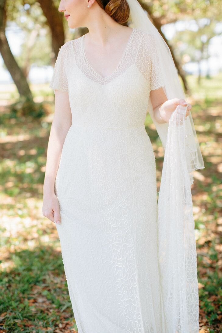 Deborah's J.Crew wedding dress featured a delicate, vintage-inspired lace overlay.