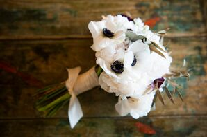 White Anemone, Peony and Olive Leaf Bouquet